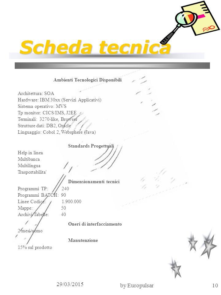 29/03/2015 by Europulsar10 Scheda tecnica Ambienti Tecnologici Disponibili Architettura: SOA Hardware: IBM 30xx (Servizi Applicativi) Sistema operativ
