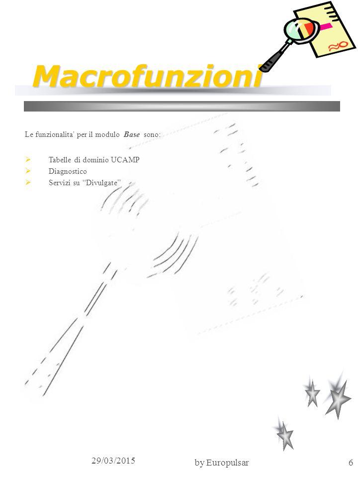 """29/03/2015 by Europulsar6 Macrofunzioni Le funzionalita' per il modulo Base sono:  Tabelle di dominio UCAMP  Diagnostico  Servizi su """"Divulgate"""""""