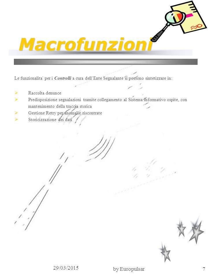 29/03/2015 by Europulsar7 Macrofunzioni Le funzionalita' per i Controlli a cura dell'Ente Segnalante si possono sintetizzare in:  Raccolta denunce 
