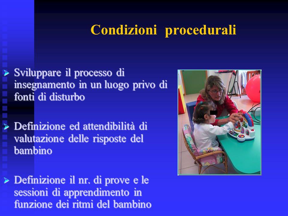Condizioni procedurali  Sviluppare il processo di insegnamento in un luogo privo di fonti di disturbo  Definizione ed attendibilità di valutazione d