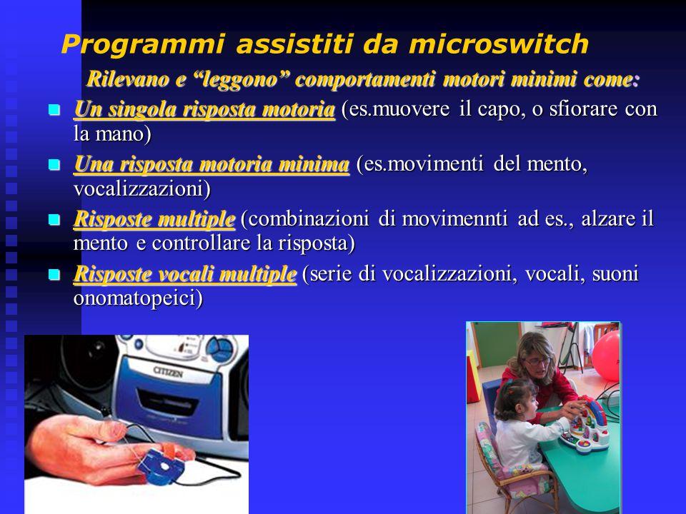 """Programmi assistiti da microswitch Rilevano e """"leggono"""" comportamenti motori minimi come: Un singola risposta motoria (es.muovere il capo, o sfiorare"""