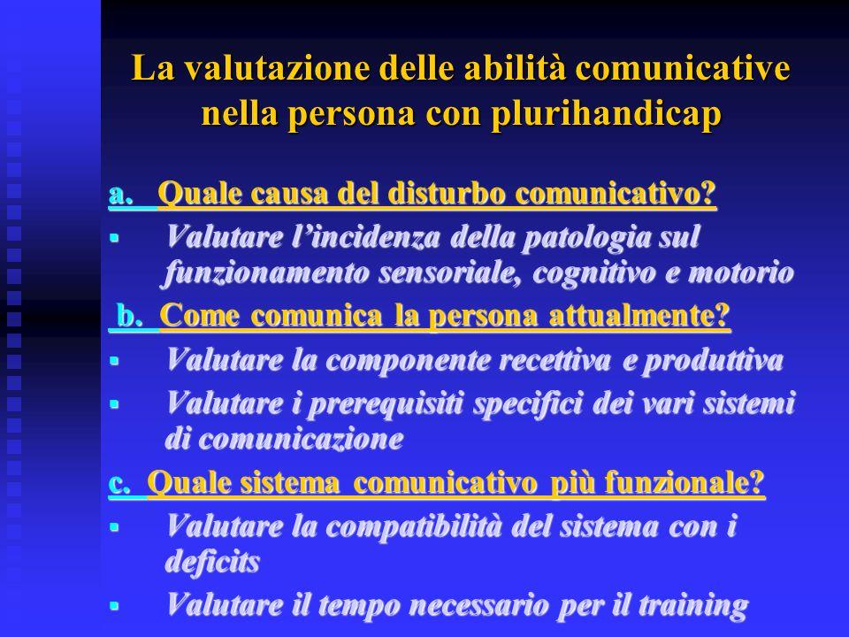 La valutazione delle abilità comunicative nella persona con plurihandicap a. Quale causa del disturbo comunicativo?  Valutare l'incidenza della patol