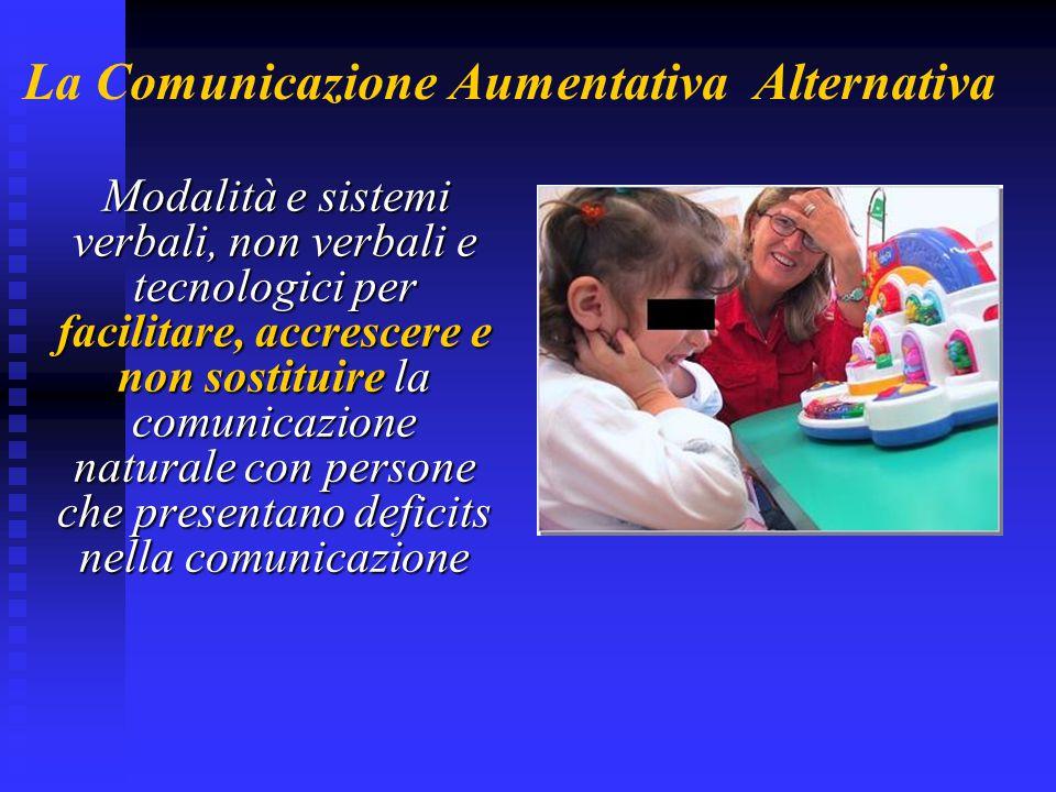 Obiettivi della Comunicazione Aumentativa  Stimolare l'iniziativa comunicativa del bambino all'interno di ricche e motivanti situazioni interattive  Promuovere la consapevolezza della possibilità di controllo di persone, stimoli ed interazioni nel suo ambiente