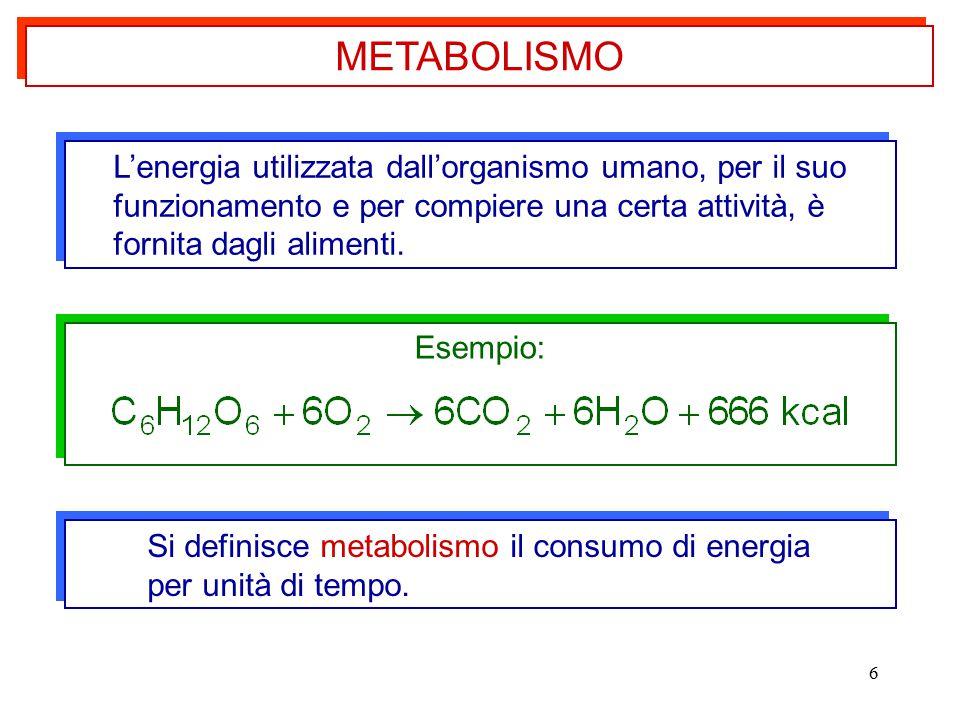 6 L'energia utilizzata dall'organismo umano, per il suo funzionamento e per compiere una certa attività, è fornita dagli alimenti. L'energia utilizzat