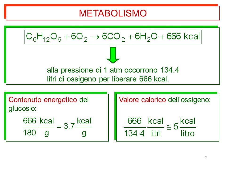 7 alla pressione di 1 atm occorrono 134.4 litri di ossigeno per liberare 666 kcal. alla pressione di 1 atm occorrono 134.4 litri di ossigeno per liber