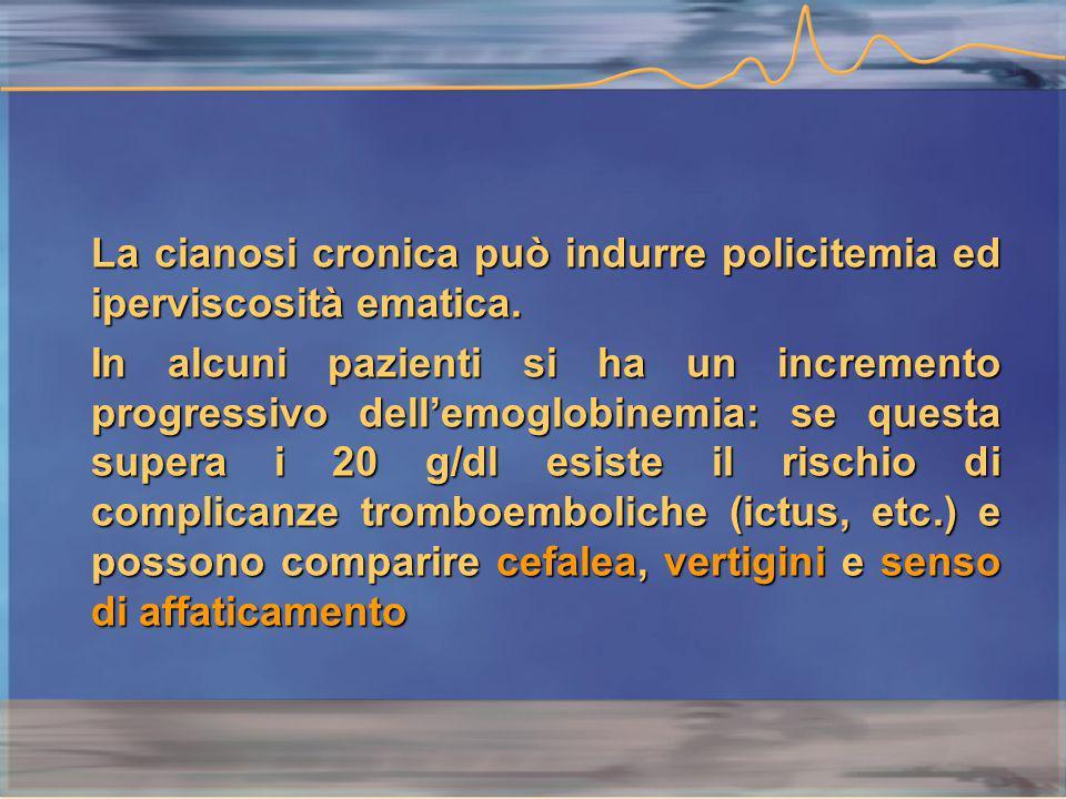 La cianosi cronica può indurre policitemia ed iperviscosità ematica.