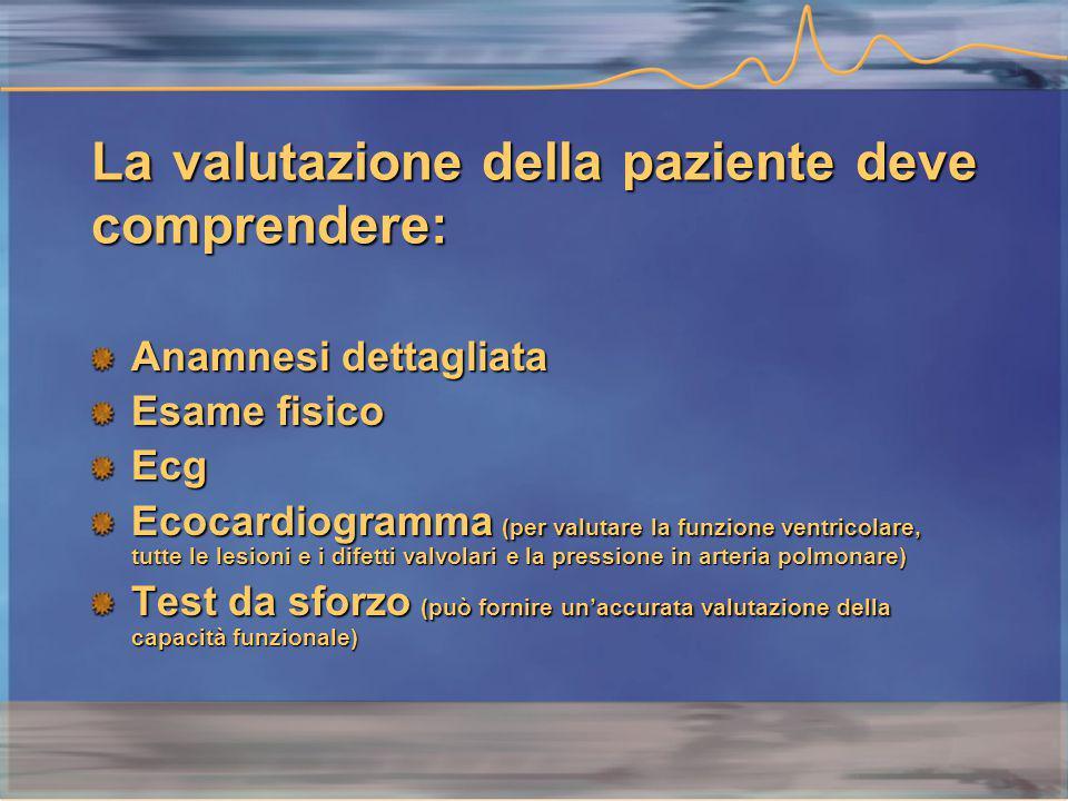 La valutazione della paziente deve comprendere: Anamnesi dettagliata Esame fisico Ecg Ecocardiogramma (per valutare la funzione ventricolare, tutte le lesioni e i difetti valvolari e la pressione in arteria polmonare) Test da sforzo (può fornire un'accurata valutazione della capacità funzionale)