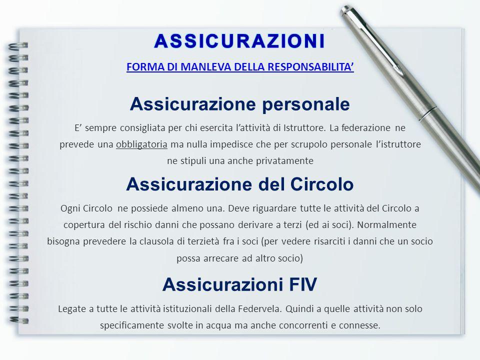 FORMA DI MANLEVA DELLA RESPONSABILITA' Assicurazione personale E' sempre consigliata per chi esercita l'attività di Istruttore. La federazione ne prev