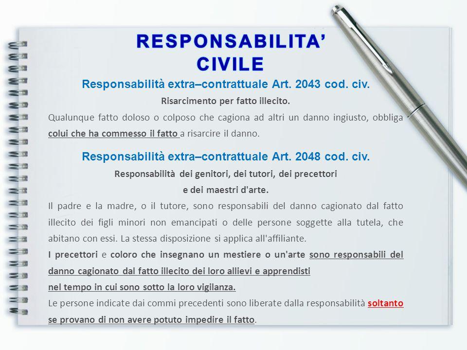 Responsabilità extra–contrattuale Art. 2043 cod. civ. Risarcimento per fatto illecito. Qualunque fatto doloso o colposo che cagiona ad altri un danno