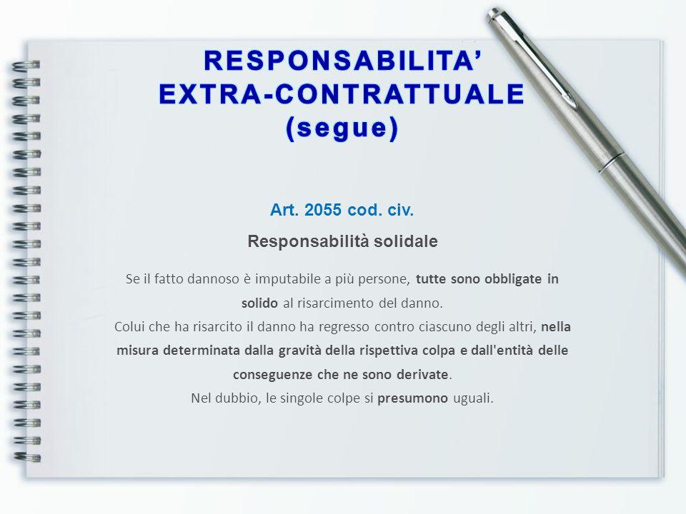 Art. 2055 cod. civ. Responsabilità solidale Se il fatto dannoso è imputabile a più persone, tutte sono obbligate in solido al risarcimento del danno.