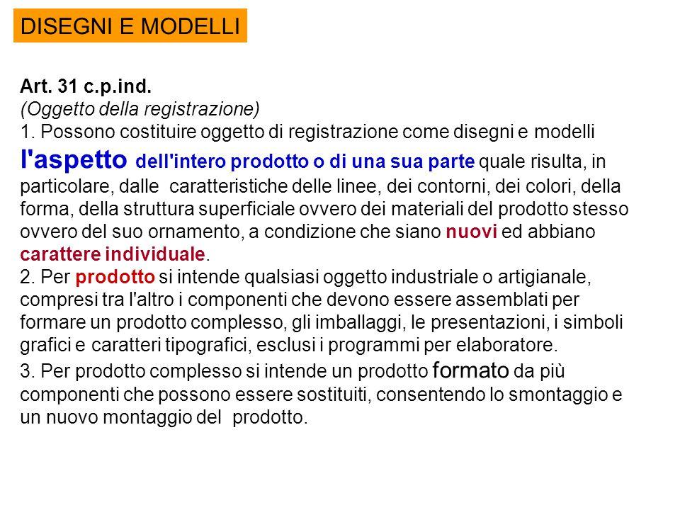 DISEGNI E MODELLI Art. 31 c.p.ind. (Oggetto della registrazione) 1. Possono costituire oggetto di registrazione come disegni e modelli l'aspetto dell'