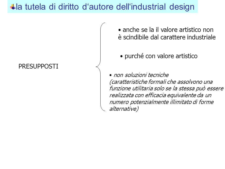 la tutela di diritto d'autore dell'industrial design anche se la il valore artistico non è scindibile dal carattere industriale purché con valore arti