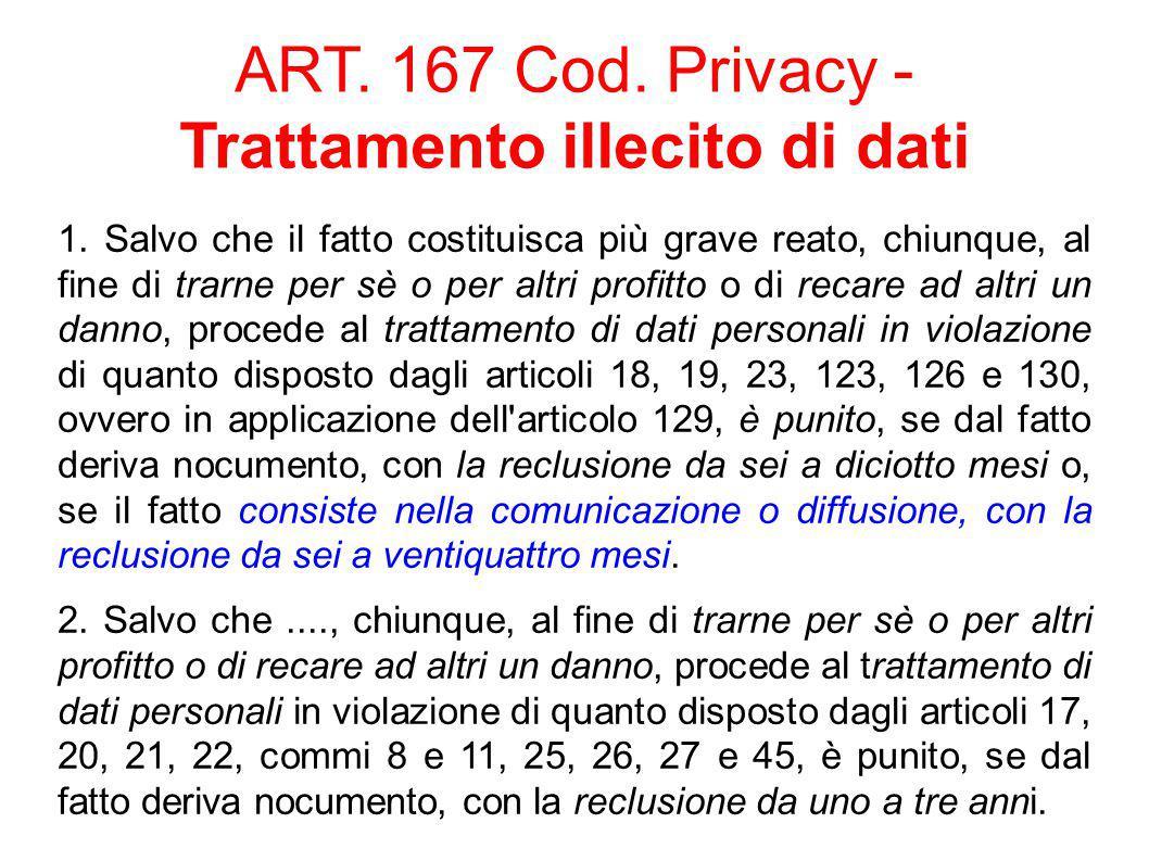 ART. 167 Cod. Privacy - Trattamento illecito di dati 1.
