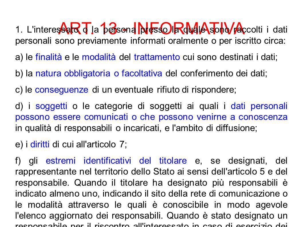 ART. 13 - INFORMATIVA 1.