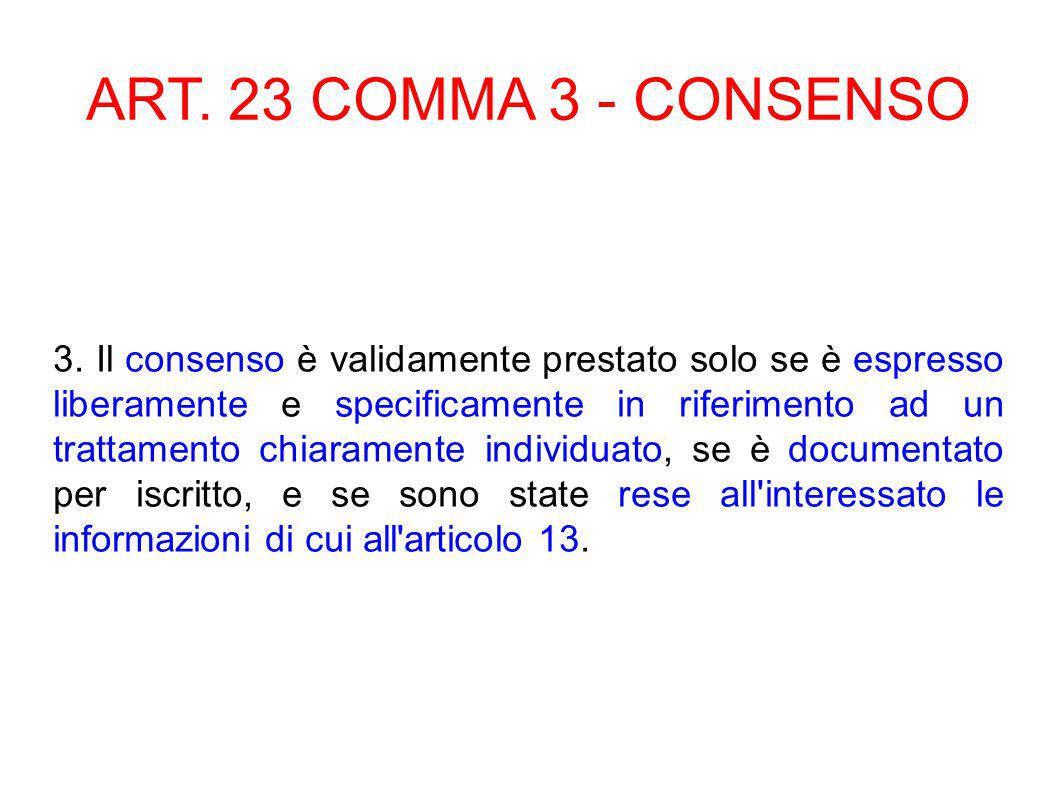 ART. 23 COMMA 3 - CONSENSO 3.