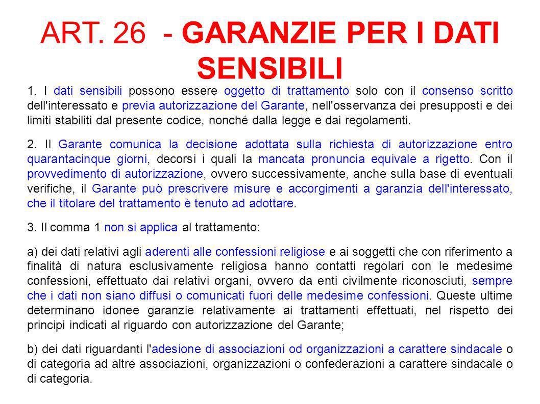 ART. 26 - GARANZIE PER I DATI SENSIBILI 1.