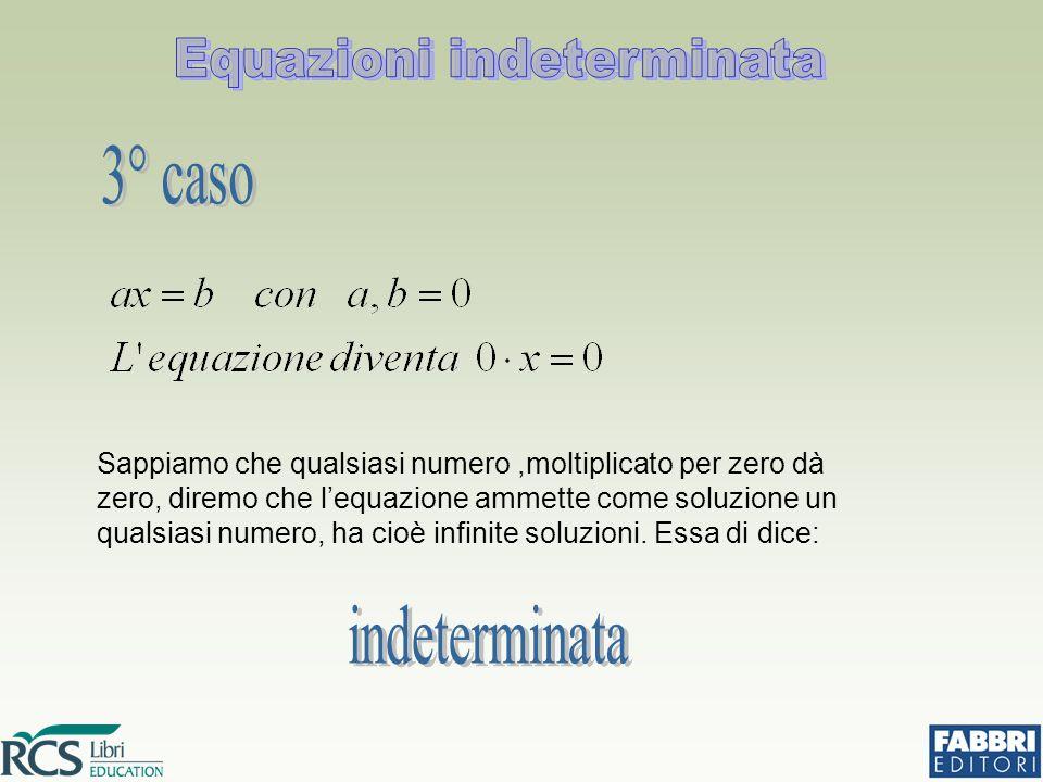 Sappiamo che qualsiasi numero,moltiplicato per zero dà zero, diremo che l'equazione ammette come soluzione un qualsiasi numero, ha cioè infinite soluz
