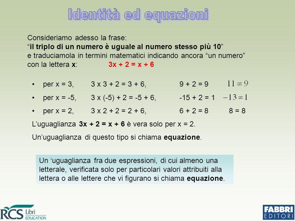 Le lettere (o la lettera) che compaiono nell'espressione sono le (o la) incognite dell'equazione: 3x + 2 = x + 6 incognita Le due espressioni letterali che formano l'uguaglianza si dicono rispettivamente 1° membro e 2° membro dell'equazione: 3x + 2 = x + 6