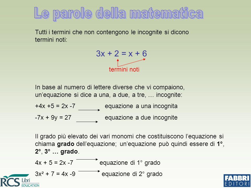 Tutti i termini che non contengono le incognite si dicono termini noti: 3x + 2 = x + 6 termini noti In base al numero di lettere diverse che vi compai