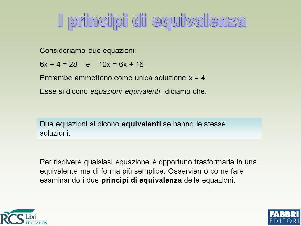 Consideriamo due equazioni: 6x + 4 = 28 e 10x = 6x + 16 Entrambe ammettono come unica soluzione x = 4 Esse si dicono equazioni equivalenti; diciamo ch