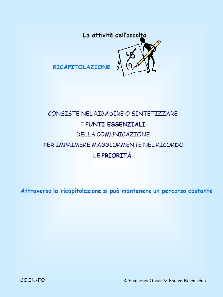 © Francesca Grassi & Franco BochicchioCO.IN-FO CONSISTE NEL RIBADIRE O SINTETIZZARE I PUNTI ESSENZIALI DELLA COMUNICAZIONE PER IMPRIMERE MAGGIORMENTE NEL RICORDO LE PRIORITÀ.