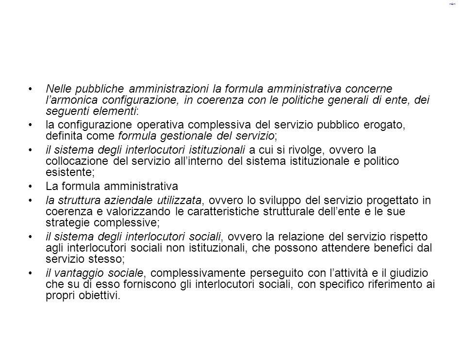 m&m Nelle pubbliche amministrazioni la formula amministrativa concerne l'armonica configurazione, in coerenza con le politiche generali di ente, dei s