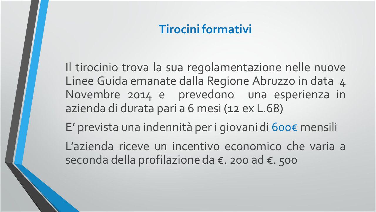Tirocini formativi Il tirocinio trova la sua regolamentazione nelle nuove Linee Guida emanate dalla Regione Abruzzo in data 4 Novembre 2014 e prevedon