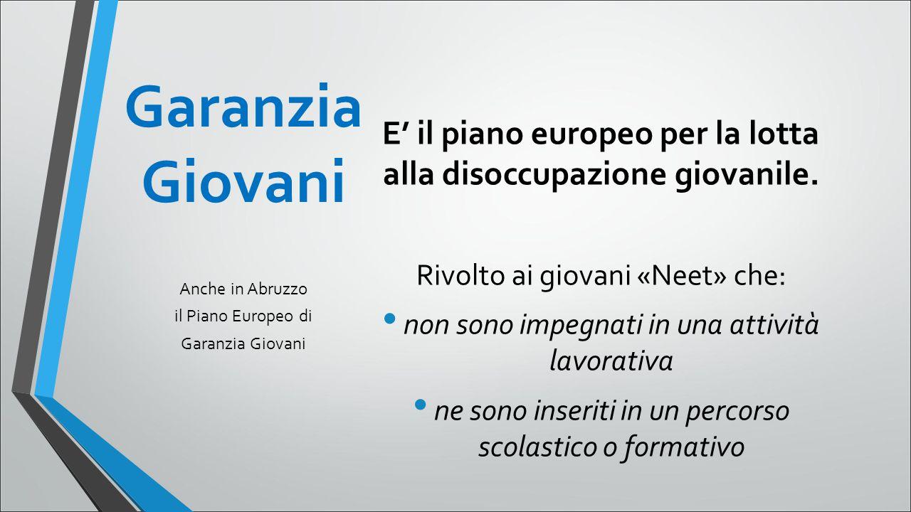 Garanzia Giovani E' il piano europeo per la lotta alla disoccupazione giovanile.