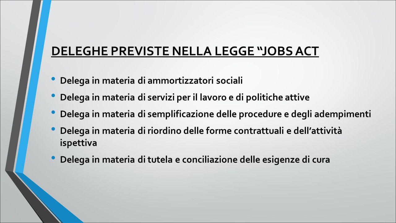 """DELEGHE PREVISTE NELLA LEGGE """"JOBS ACT Delega in materia di ammortizzatori sociali Delega in materia di servizi per il lavoro e di politiche attive De"""