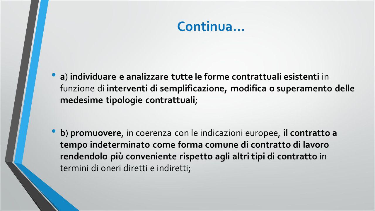 Continua... a) individuare e analizzare tutte le forme contrattuali esistenti in funzione di interventi di semplificazione, modifica o superamento del