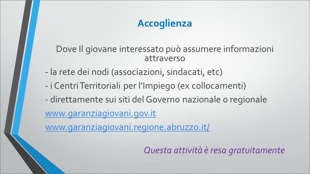 Accoglienza Dove Il giovane interessato può assumere informazioni attraverso - la rete dei nodi (associazioni, sindacati, etc) - i Centri Territoriali