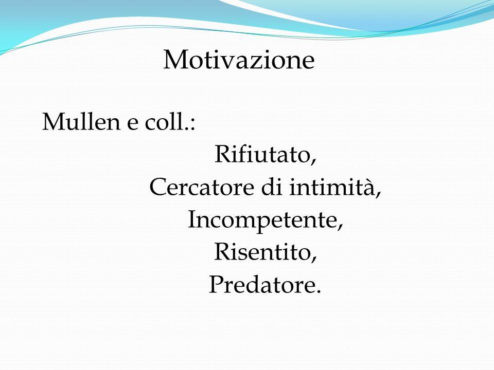 Motivazione Mullen e coll.: Rifiutato, Cercatore di intimità, Incompetente, Risentito, Predatore.