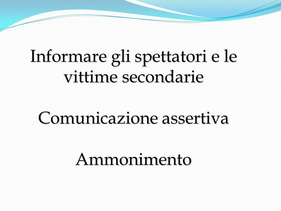 Informare gli spettatori e le vittime secondarie Comunicazione assertiva Ammonimento