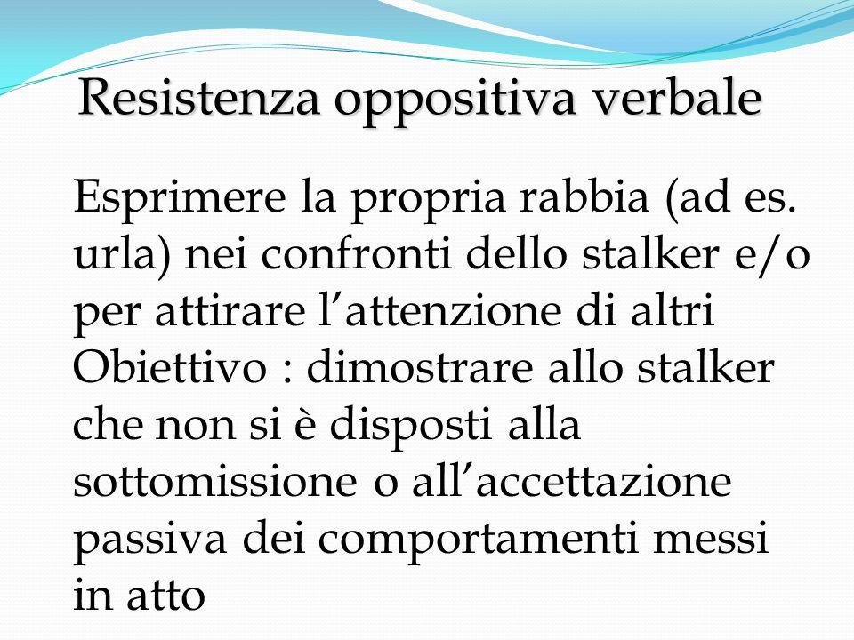 Resistenza oppositiva verbale Resistenza oppositiva verbale Esprimere la propria rabbia (ad es.