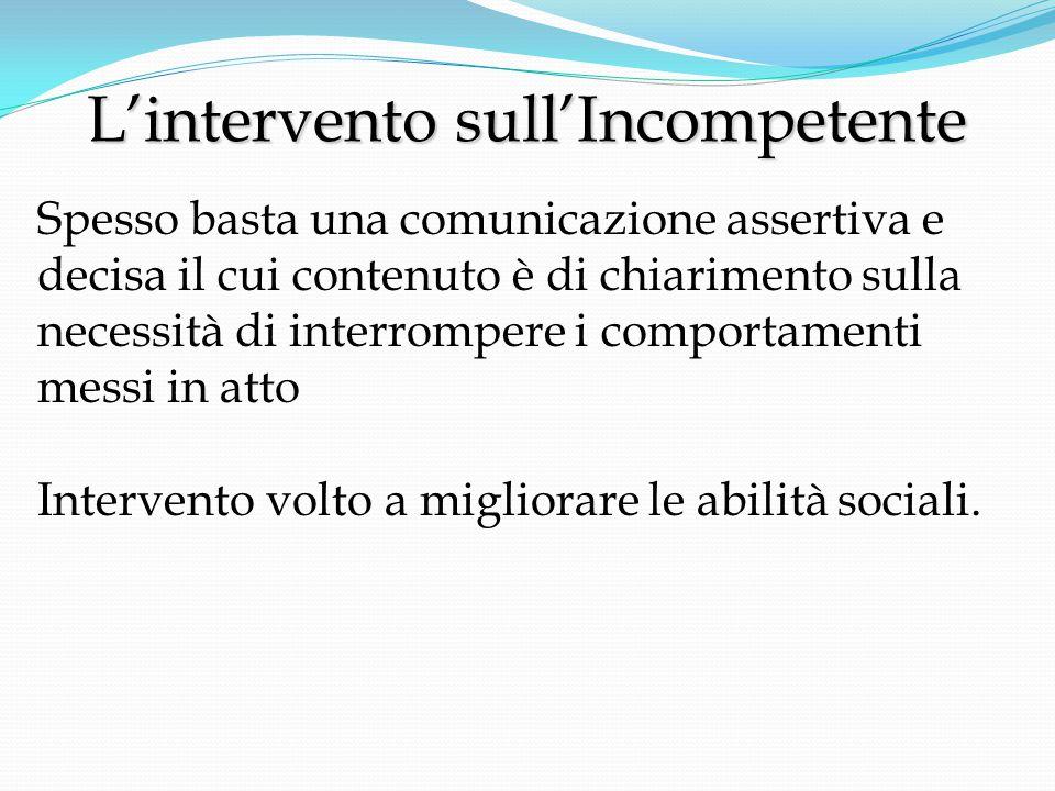 L'intervento sull'Incompetente L'intervento sull'Incompetente Spesso basta una comunicazione assertiva e decisa il cui contenuto è di chiarimento sulla necessità di interrompere i comportamenti messi in atto Intervento volto a migliorare le abilità sociali.
