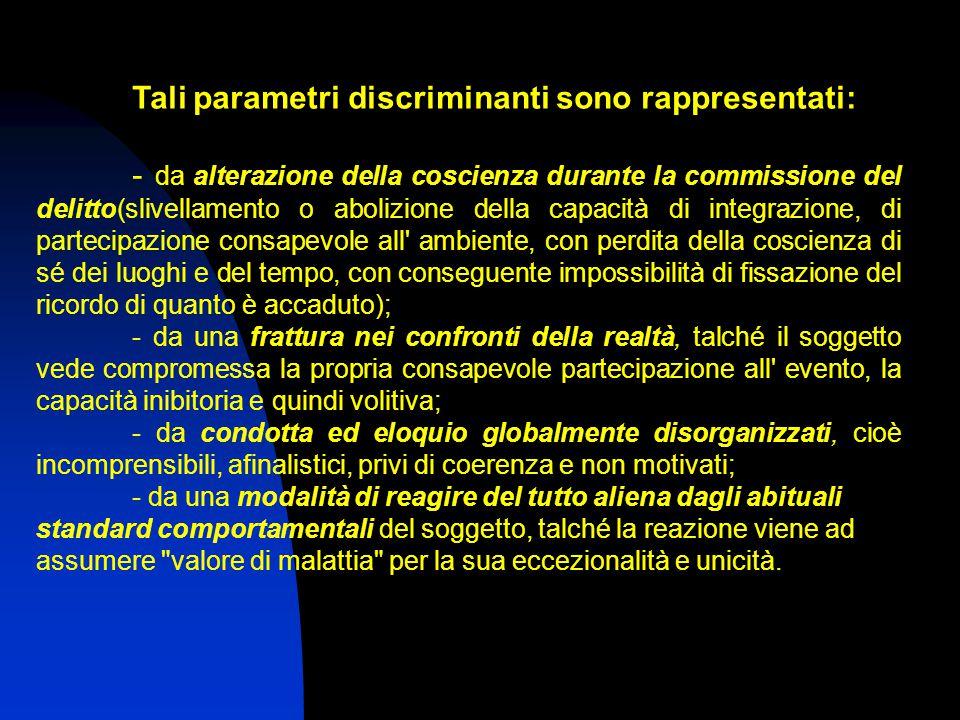 Tali parametri discriminanti sono rappresentati: - da alterazione della coscienza durante la commissione del delitto(slivellamento o abolizione della