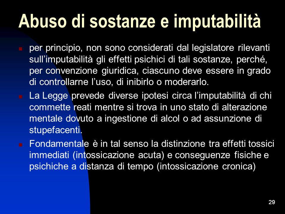 Abuso di sostanze e imputabilità per principio, non sono considerati dal legislatore rilevanti sull'imputabilità gli effetti psichici di tali sostanze