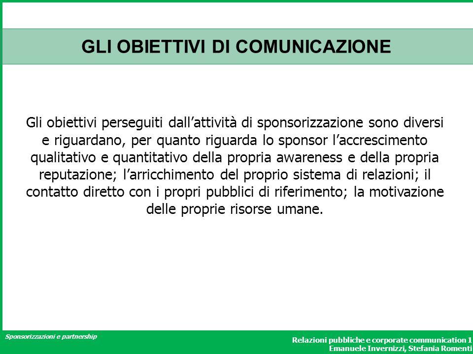 Sponsorizzazioni e partnership Relazioni pubbliche e corporate communication 1 Emanuele Invernizzi, Stefania Romenti GLI OBIETTIVI DI COMUNICAZIONE Gl