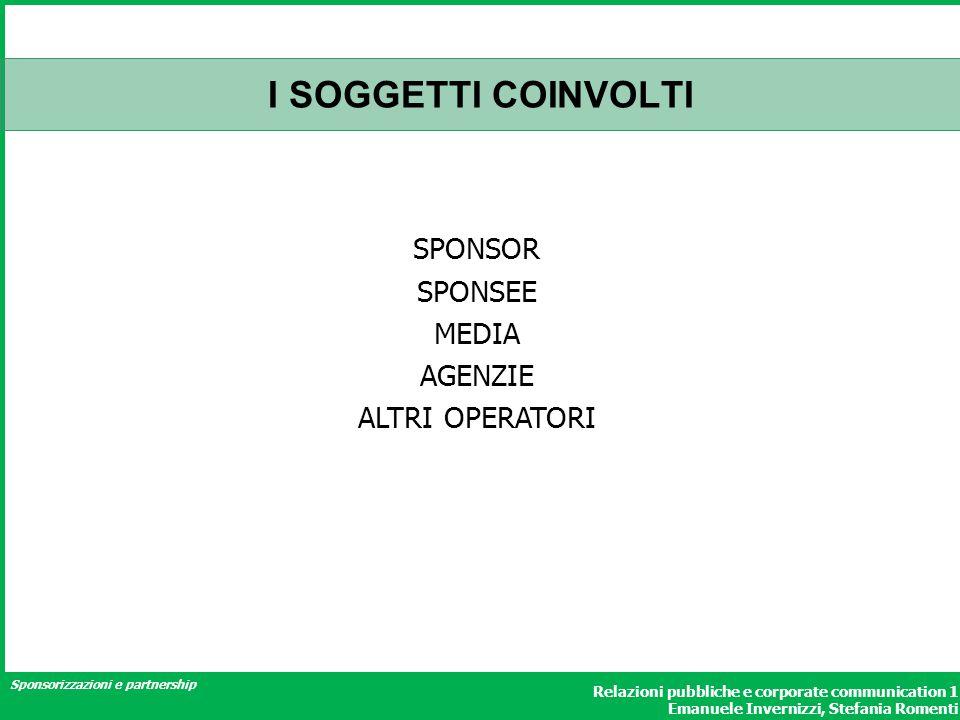 Sponsorizzazioni e partnership Relazioni pubbliche e corporate communication 1 Emanuele Invernizzi, Stefania Romenti I SOGGETTI COINVOLTI SPONSOR SPON
