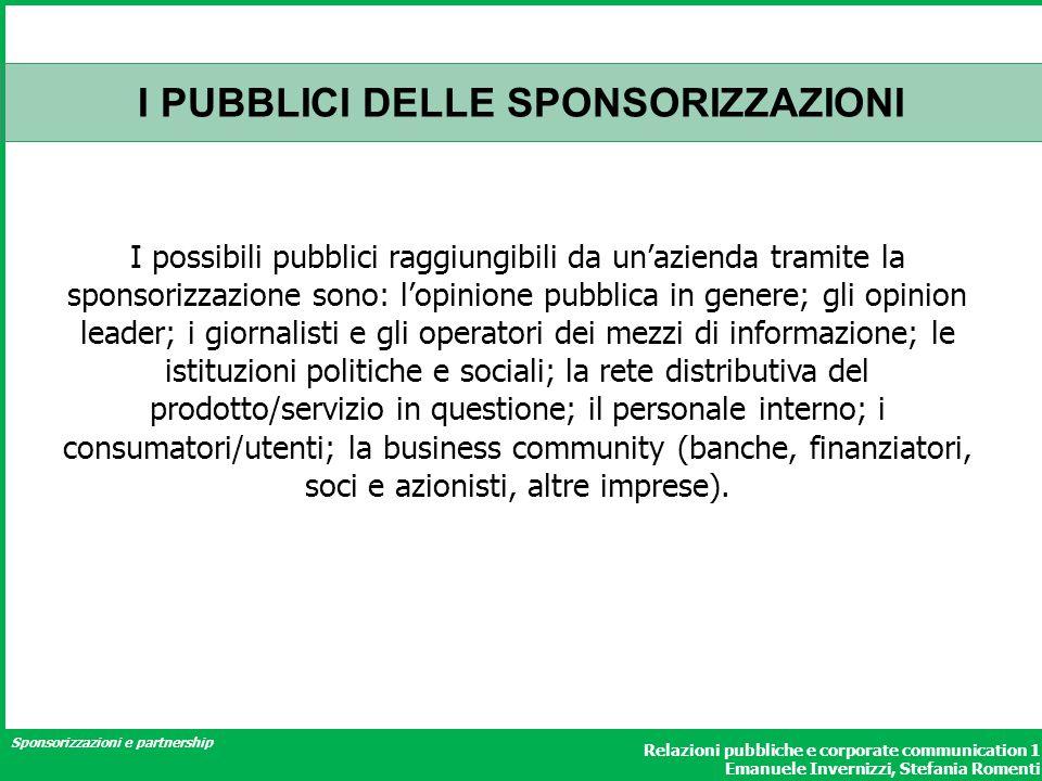 Sponsorizzazioni e partnership Relazioni pubbliche e corporate communication 1 Emanuele Invernizzi, Stefania Romenti I PUBBLICI DELLE SPONSORIZZAZIONI