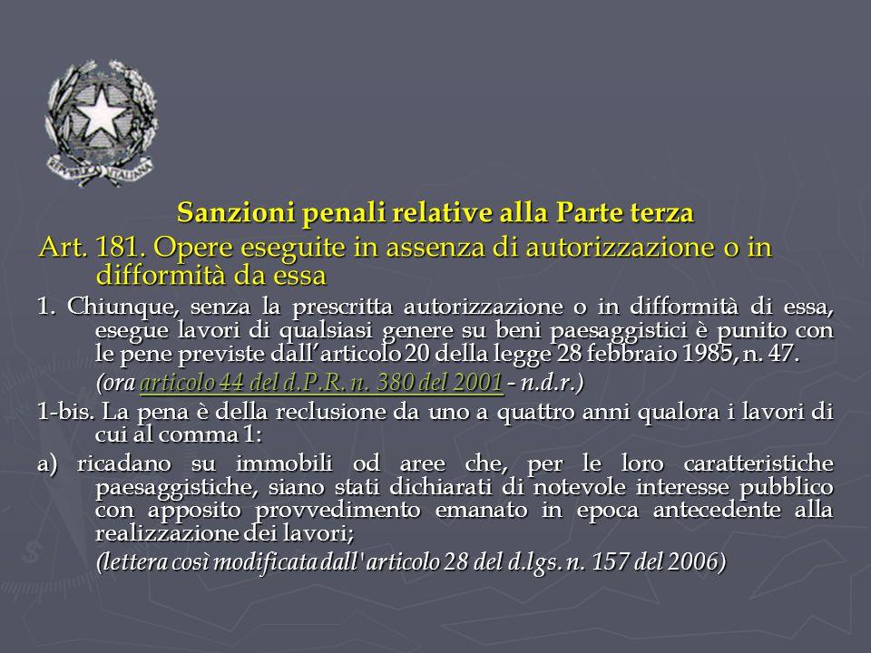 Sanzioni penali relative alla Parte terza Art.181.