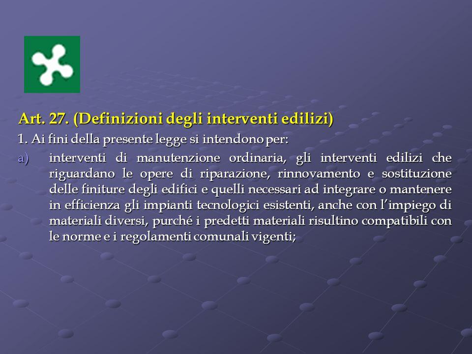 Art.27. (Definizioni degli interventi edilizi) 1.