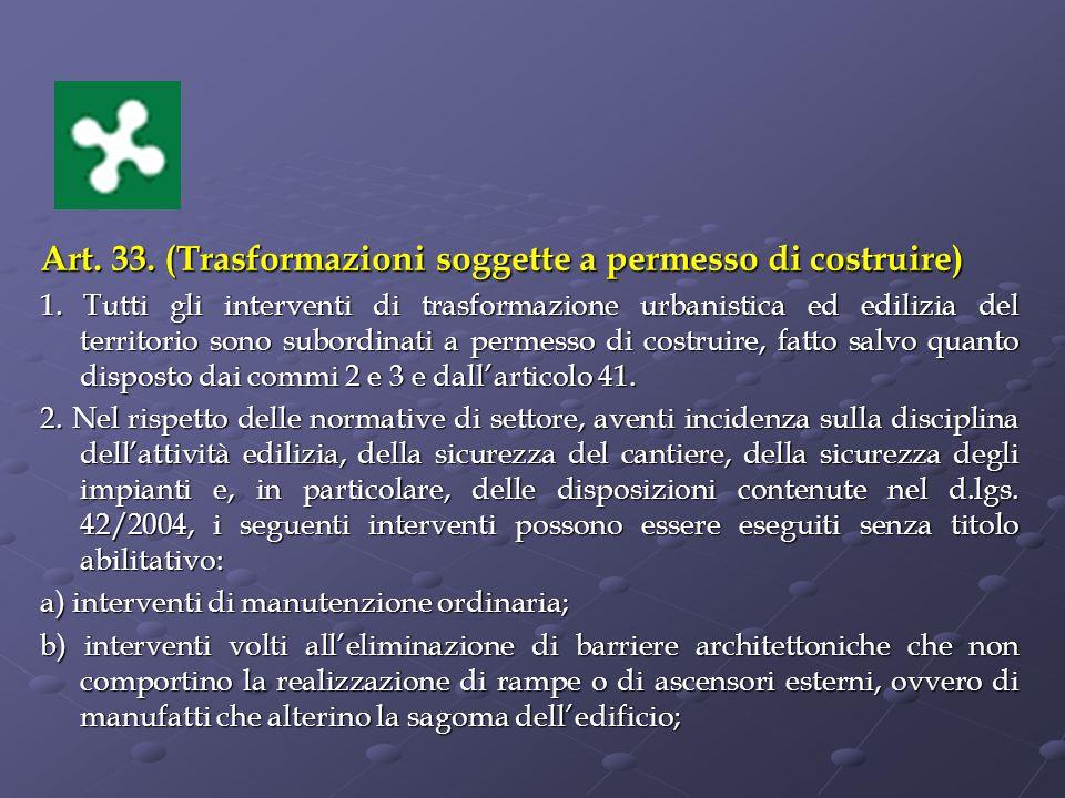 Art.33. (Trasformazioni soggette a permesso di costruire) 1.
