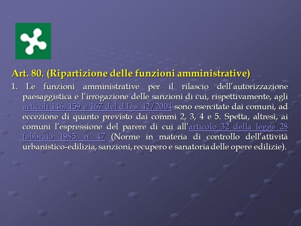 Art.80. (Ripartizione delle funzioni amministrative) 1.