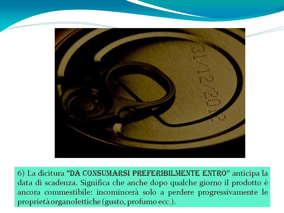 6) La dicitura da consumarsi preferibilmente entro anticipa la data di scadenza.