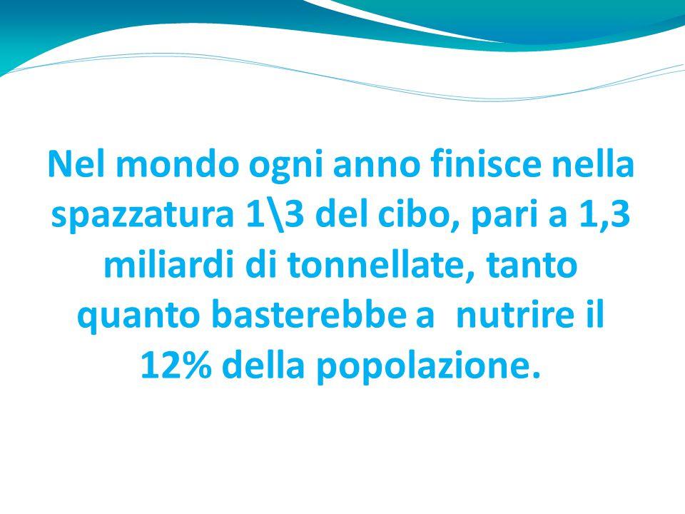 Nel mondo ogni anno finisce nella spazzatura 1\3 del cibo, pari a 1,3 miliardi di tonnellate, tanto quanto basterebbe a nutrire il 12% della popolazione.