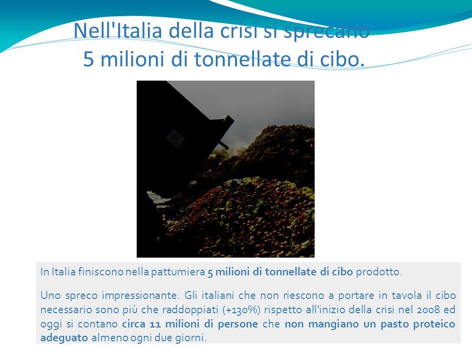 Nell'Italia della crisi si sprecano 5 milioni di tonnellate di cibo. In Italia finiscono nella pattumiera 5 milioni di tonnellate di cibo prodotto. Un