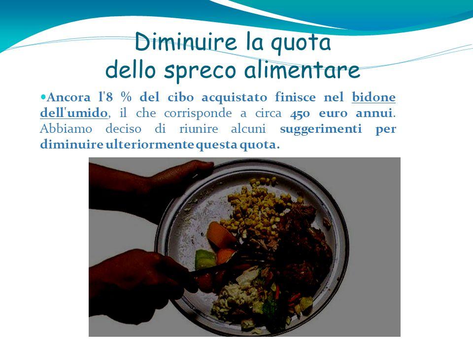 Diminuire la quota dello spreco alimentare Ancora l 8 % del cibo acquistato finisce nel bidone dell umido, il che corrisponde a circa 450 euro annui.