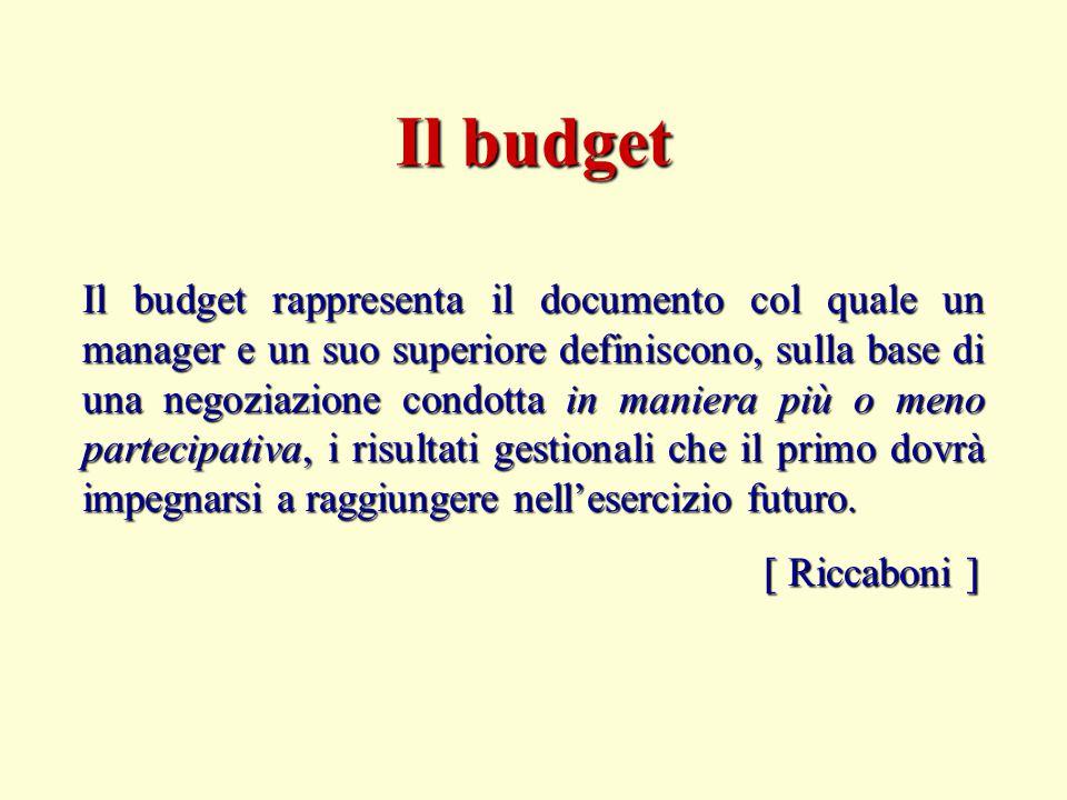 Il budget rappresenta il documento col quale un manager e un suo superiore definiscono, sulla base di una negoziazione condotta in maniera più o meno