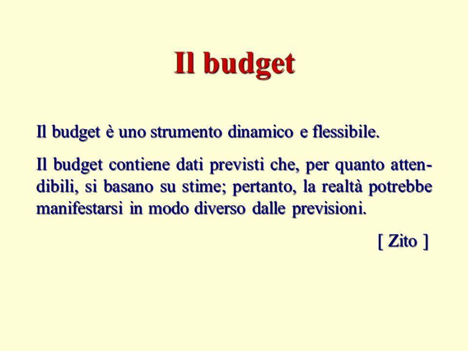 Il budget è uno strumento dinamico e flessibile. Il budget contiene dati previsti che, per quanto atten- dibili, si basano su stime; pertanto, la real